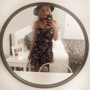 Black & white floral mini dress